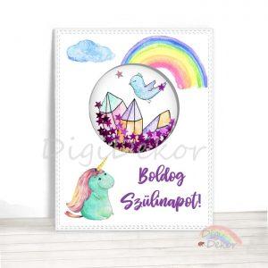 Születésnapi képeslap egyszarvúval és szivárvánnyal.