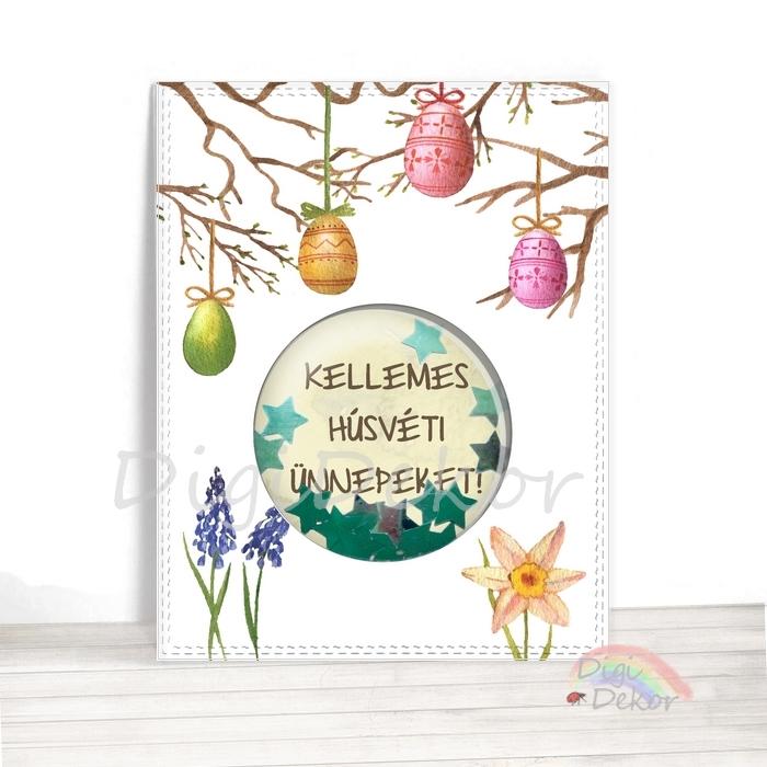 Húsvéti képeslap rázható flitterekkel