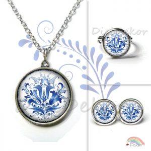 Kék népi motívumok - nyaklánc, fülbevaló, gyűrű