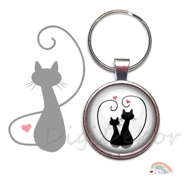 Szerelmes cicás kulcstartó, ajándék pároknak