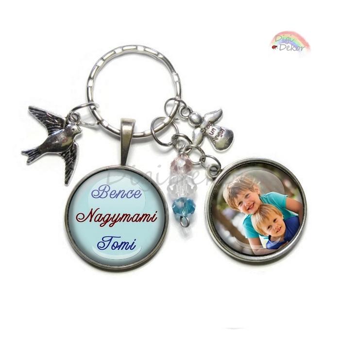 Egyedi ajándék, fényképes feliratos kulcstartó