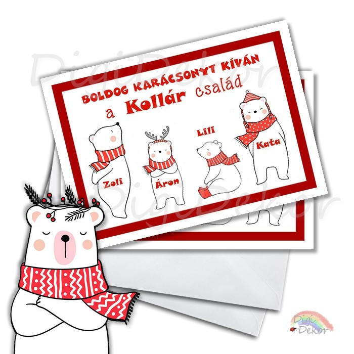 jegesmedvés boldog karácsonyt képeslap