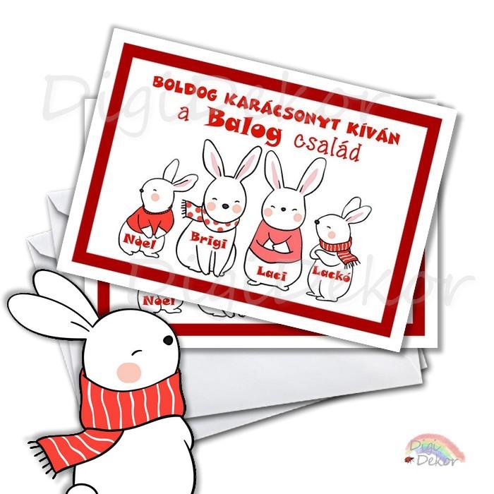 nyuszis karácsonyi képeslap