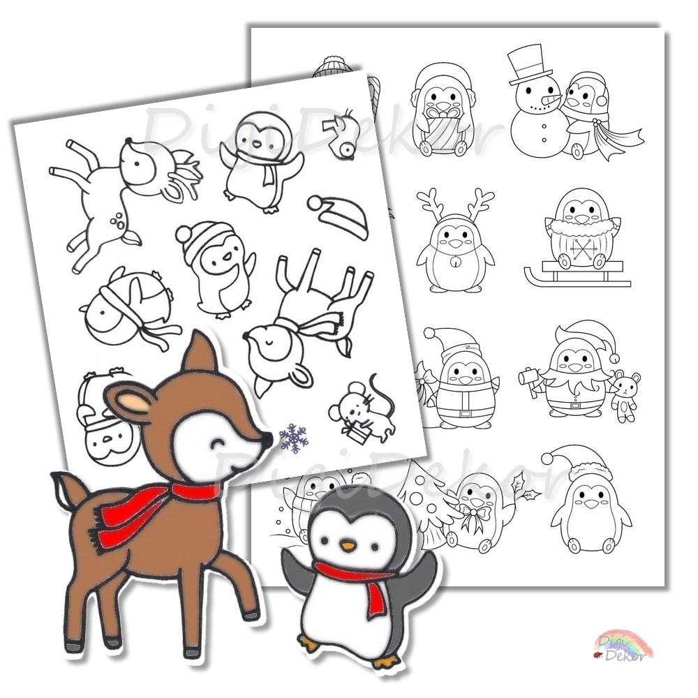 pingvin szarvas diy képeslap