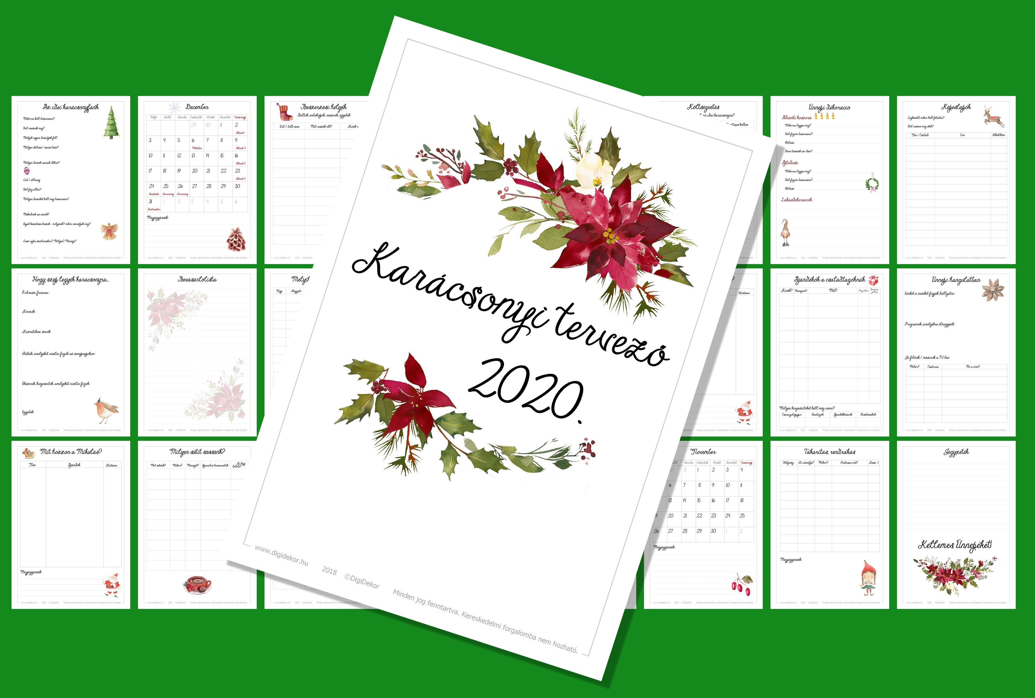 karácsonyi tervező 2020 zöld DigiDekor