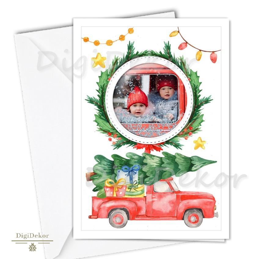 autós karácsonyi képeslap fotóval