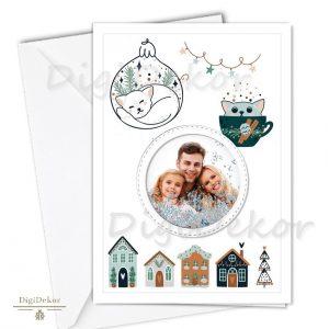 cicás karácsonyi képeslap családi fotóval
