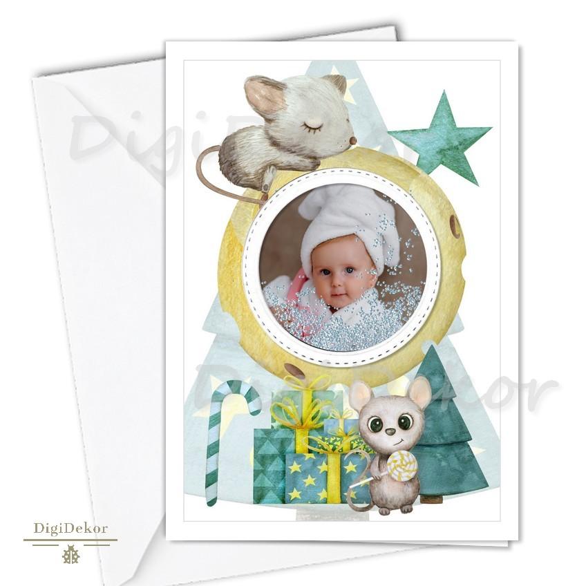 cuki egeres fenyőfás karácsonyi képeslap