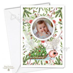kismalacos karácsonyi képeslap fényképpel
