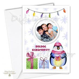 pingvines képeslap karácsonyra egyedi fényképpel
