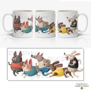 kutyák futóversenye vicces ajándék bögre