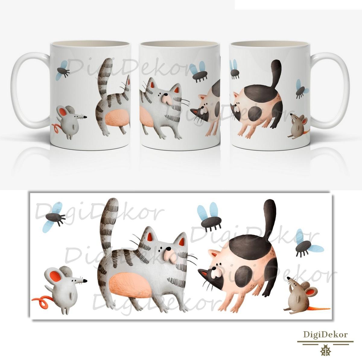 macskás-egeres vicces bögre