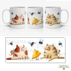 cicás-egérkés-madárkás vicces ajándék bögre