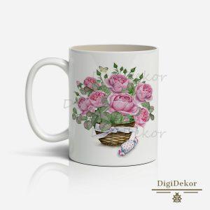 romantikus rózsás bögre