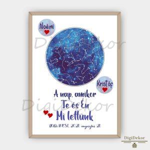 kék színű, személyre szabott csillagtérkép