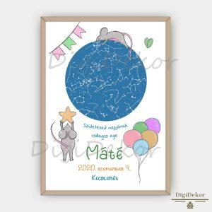 Egérkés szülinapi csillagtérkép poszter