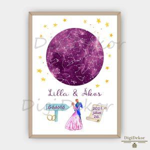 Esküvői, táncoló páros falikép, csillagok állása ajándék