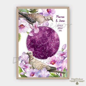 Galambos-virágos személyre szabott csillagtérkép