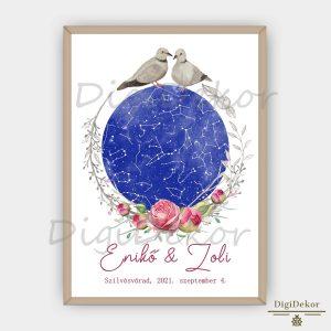 Rózsás-galambpáros csillagtérkép esküvőre