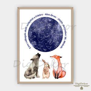 Farkasos-rókás-nyuszis személyre szabott csillagtérkép