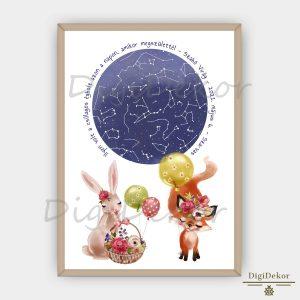 Tündéri nyuszis-rókás csillagos égbolt ajándék