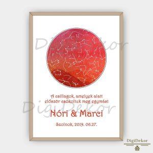 Narancspiros tájképes csillagtérkép egyedi szöveggel