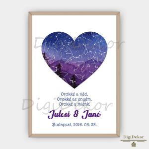 Szív alakú tájképes csillagtérkép pároknak