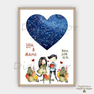 Őszi hangulatú falikép szív alakú csillagtérképpel