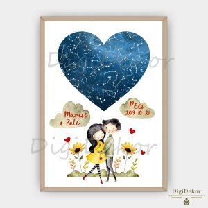 Virágos, összebújós csillagtérkép pároknak